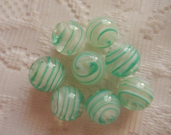 8  Aqua Green & White Swirled Round Lampwork Glass Beads  14mm