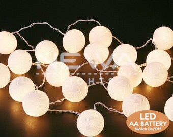 20 LED Battery White Cotton Ball Fairy Lights Indoor String Lights Warm  White Christmas Lights Bedroom
