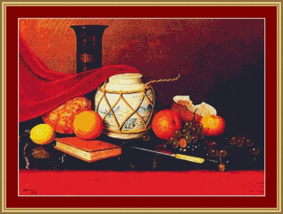 Still Life With Ginger Jar Cross Stitch Pattern /Digital PDF Files /Instant downloadable