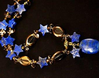 Lapis Lazuli Natural Gemstone Necklace, Blue Statement Necklace, Lapis Handmade Beaded Necklace, Gemstone Beaded Jewelry, Handmade Jewelry
