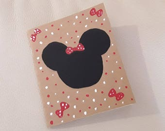 Kraft notebook hand painted mouse bow