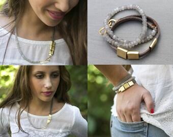 Labradorite necklace, Unique necklaces for women, Unique Bead necklace jewelry, unique jewelry women, Fifty shades of grey necklace