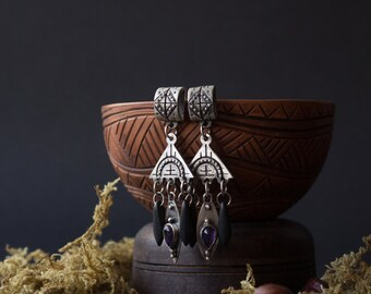 Silver amethyst black earrings, Silver Boho earrings, silver earrings, silver Indian jewelry, Dangle & Drop Earrings, boho black earrings