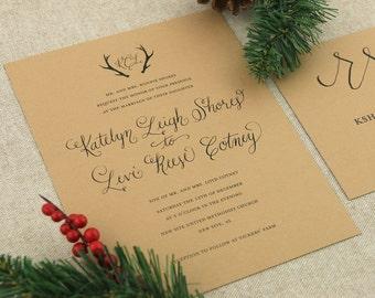 Rustic Antler Calligraphy Wedding Invitation