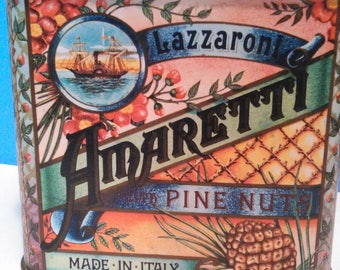 Colorful Vintage Biscuit Tin Amaretti with Pine Nuts 1982 Crabtree and Evelyn,  Made in Italy