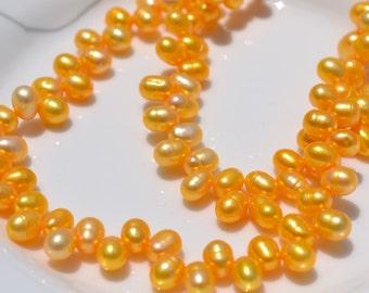 Bright Yellow Dancing Freshwater Pearl Beads   FULL STRAND