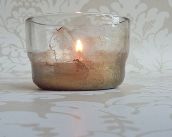 Gold marble effect tealight holder