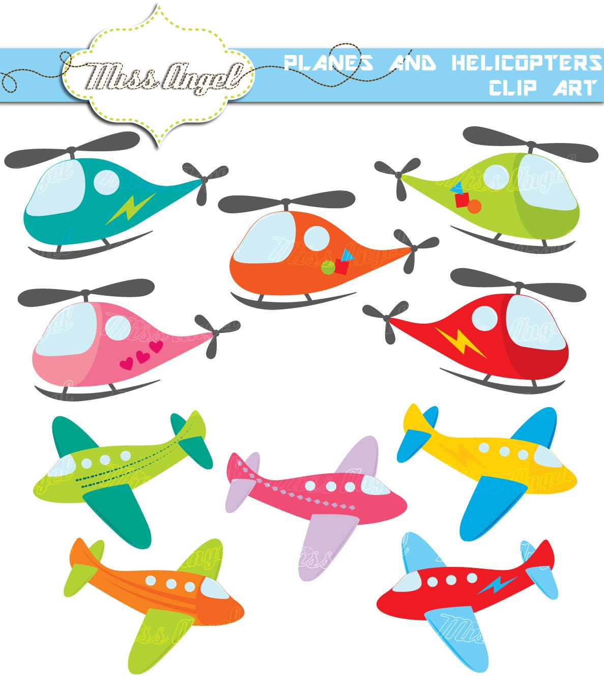 aeroplane helicopters clip art 10 cute planes and helicopters rh etsy com plains clip art planes clip art and pictures