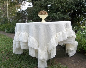 Double Ruffle Linen Tablecloth Ruffled Table Cloth Multi Ruffle Tablecloth Wedding Decorations 70x72