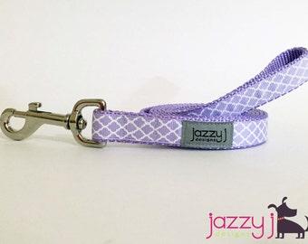 Lavender and White Trellis Quatrefoil Dog Leash Lead