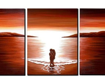 LARGE, Original, PAINTING on Canvas, landscape/Seascape, sunset, Wall Art, Modern, Contemporary, browns, creams