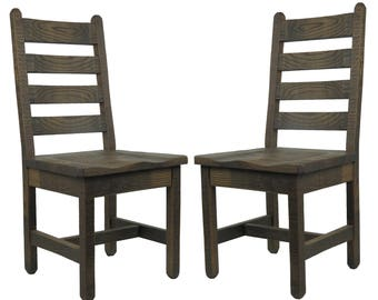 2 Barnwood Dining Chairs with Ladder Back (SAVE on 2!)