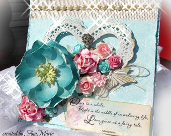 SPECIAL ORDER: Handmade Wedding Card, Love, Anniversary, Romantic, Valentine's Day - Vintage Shabby Chic Card- Inc. Clear Box Envelo