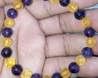 Amethyst And Citrine Natural Stone Bracelet 8 MM