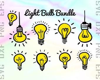 Light Bulb SVG Files - Light Bulb Clipart - Light Bulb Dxf Files - Light Bulb Cut Files - Light Cricut Files - Light Png - Svg, Dxf, Png