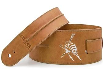 Tan leather guitar strap, tan brown guitar strap, custom gift  - the BACKBONE