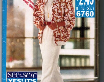 Butterick See & Sew 6760 Sizes L-XL Misses Jacket and Pants Pattern UNCUT