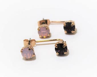 Rose Gold Plated Ear Jacket Earrings with Amethyst and Rose Water OpalSwarovski Crystal Element Earrings by Lady C