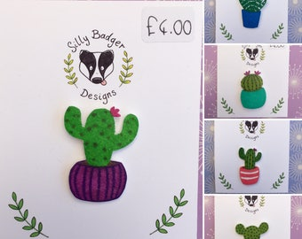Shrink Plastic Hand Drawn Cactus Brooch, Fun Plant Accessories, Crazy Plant Lady Gift