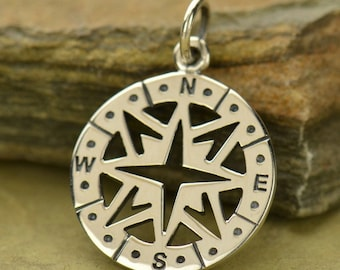 Compass charm or pendant. Sterling silver Journey or travel charm. Quote charm. North East South West