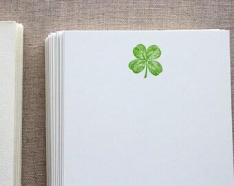 Flat Card Set with Letterpress Four Leaf Clover (vertical)