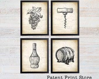 Wine Art Print Set Vintage Prints
