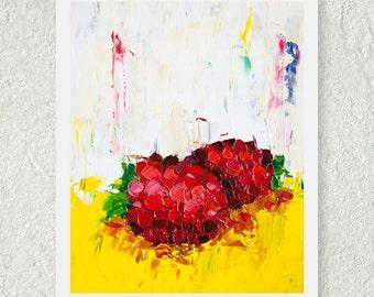 Raspberry Print, Modern Fruit Art, Food Painting, Oil Painting Print, Kitchen Art Decor, Kitchen Art Print, Original Art Print, Yellow Art