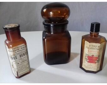 Jar, vials French vintage jug pharmacist Jacques Vabre color amber french chemist jar