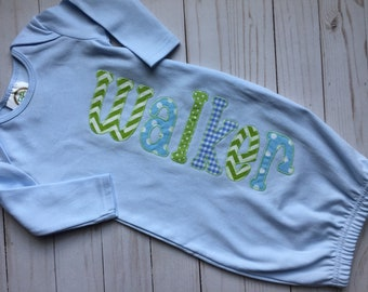 Baby gown name-applique gown-boy gown-boy baby gown