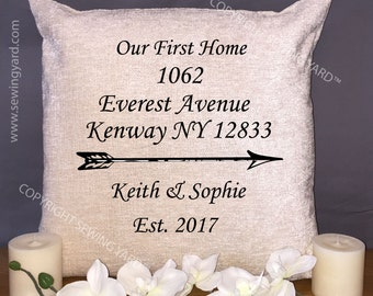 """Luxury Personalised 18"""" Chenille Cushion & Pad House Warming, First Home, Realtor, Estate Agent,"""