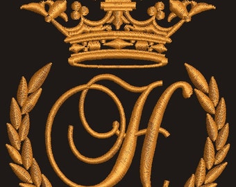 """Crown, laurel wreath and the monogram letter """"H"""" - Machine embroidery design,   design tested."""