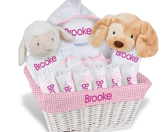 Personalized Baby Gift Basket, Baby Girl Gift Basket - 2 Bibs, 6 Burp Cloths, Towel, Bodysuit, Diaper Cover, Robe, Plush - X Large(B)