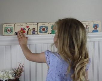Colorful daily routine for children 3-5, wooden (motivation)