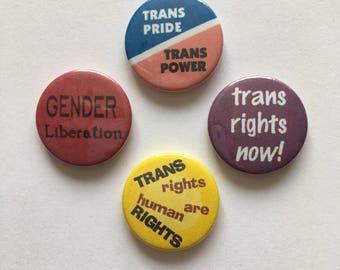 4 Set Transgender Pride Trans Rights Gender Liberation LGBT Vintage Style Button Badges