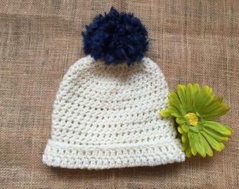 Handmade, Crochet Classic White Baby Beanie with Navy Blue Pom Pom
