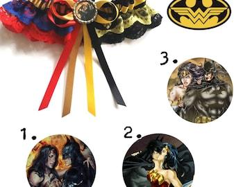 Batman and Wonder Woman half n half Satin/Satin and Lace Garter/Garter Set-up Your choice of embellishment.