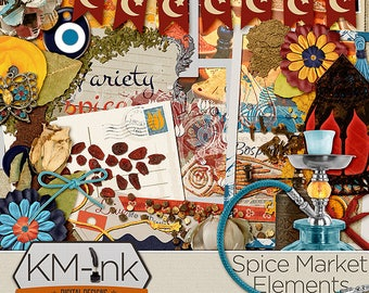 """Travel, Cooking, """"Spice Market"""" Digital Scrapbook Kit ELEMENTS - Turkish/Middle East Elements in red, orange. yellow, and blue"""