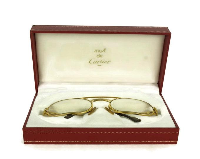 Vintage Cartier Glasses. French Designer Gold Eyeglasses Frames in Must De Cartier Box. Luxury Gifts.
