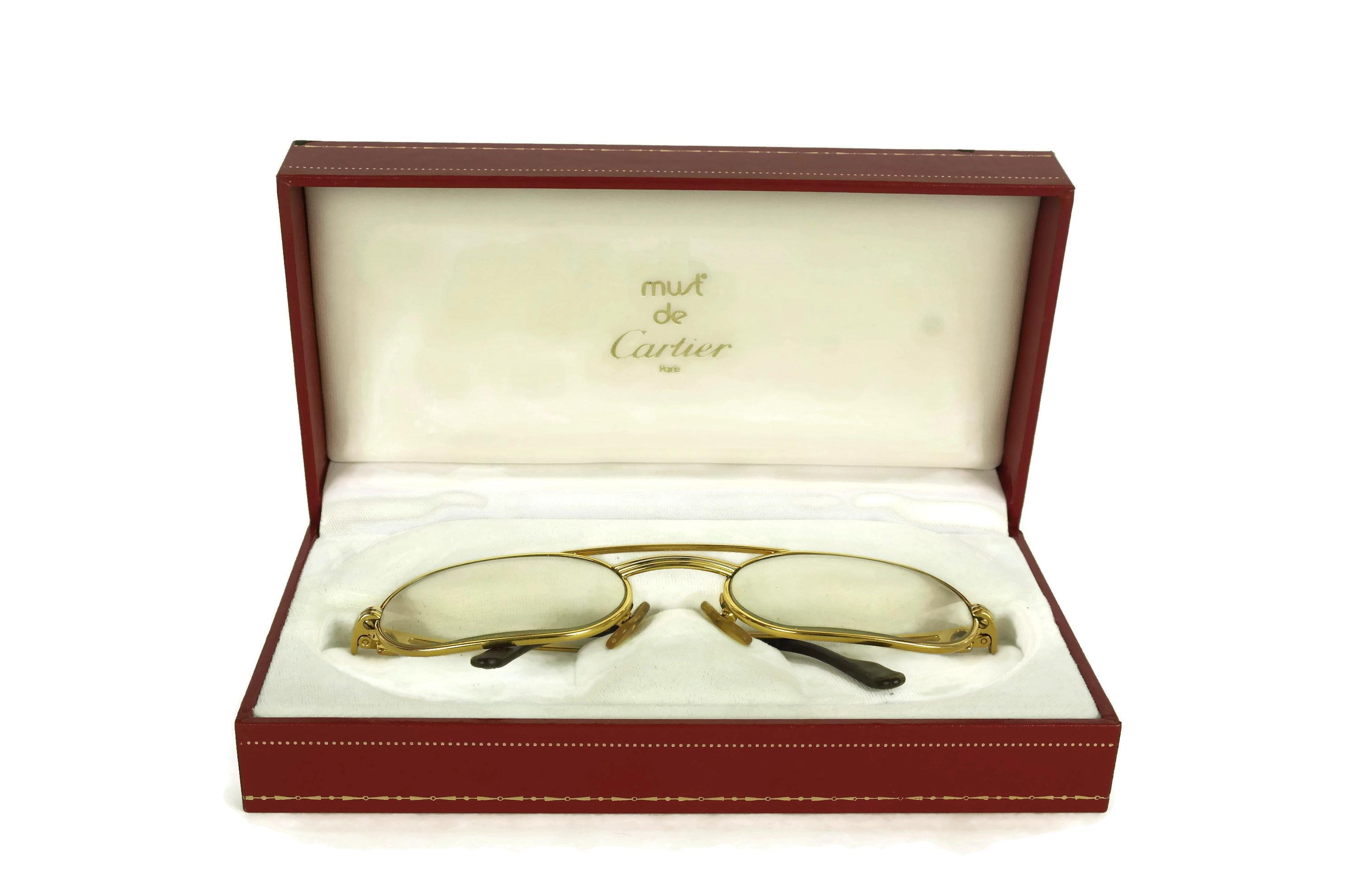 Vintage Cartier Glasses. French Designer Gold Eyeglasses Frames in ...