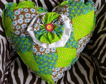 heart cushion, heart pillow, vintage cushion, retro cushion, bedroom decor, Patchwork cushion