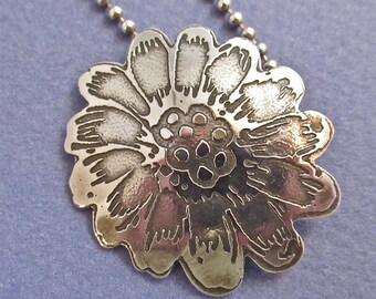 Sterling silver etched flower pendant necklace