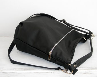BLACK LEATHER HOBO Bag Crossbody Bag - Everyday Leather Shoulder Bag