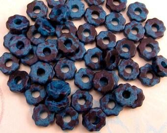 Greek Ceramic Mykonos Gear Beads, 8 mm, Mottled Blue, 50 Pieces, M142