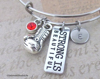 Strong is beautiful Boxing Glove Charm Bangle Personalized Hand Stamped Initial Birthstone Fighter Stainless Steel Expandable Bangle