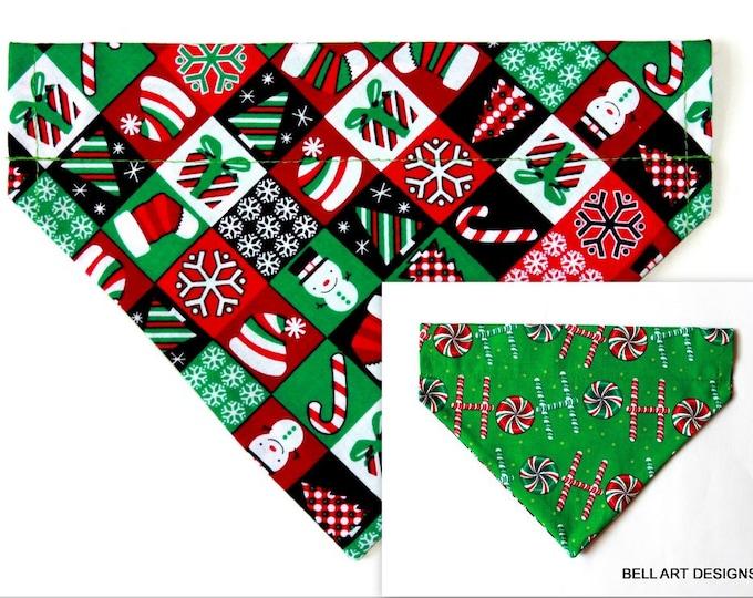DOG BANDANA ~ Over the Collar ~ Reversible ~ Christmas ~ Bell Art Designs ~ Medium ~ DCM0618