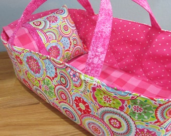 Doll Carrier, Will Fit Bitty Baby and Wellie Wisher Dolls, Colorful with Bright Pink Lining, 16 Inches Long, Doll Basket