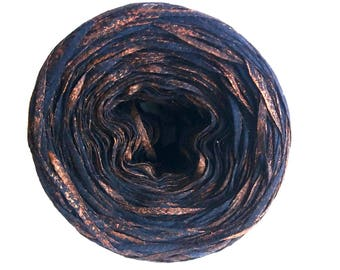 Copper Metallic Effect on 100% Cotton Ribbon– 50gr Yarn cake