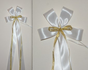 10 extra large pew ends wedding bows-white double sided satin-gold glitter organza ribbon-wedding decorations-handmade to order