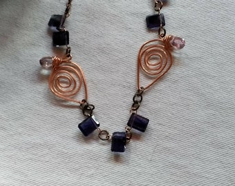 My Fair Lady - An Iolite and Tourmaline Necklace With Copper