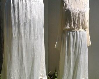 Vintage 1930s 1920s silk satin cream ivory wedding bridal dress skirt outfit